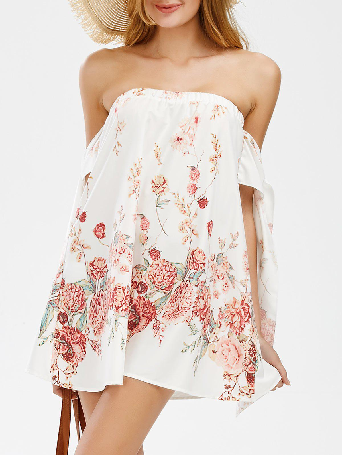 Off The Shoulder Mini Floral Holiday Dress - WHITE S