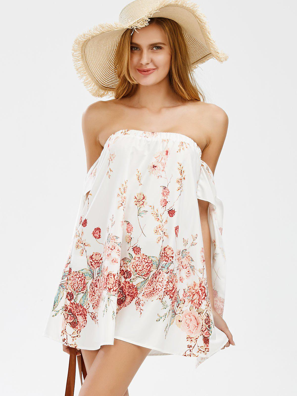 Off The Shoulder Mini Floral Holiday Dress - WHITE XL
