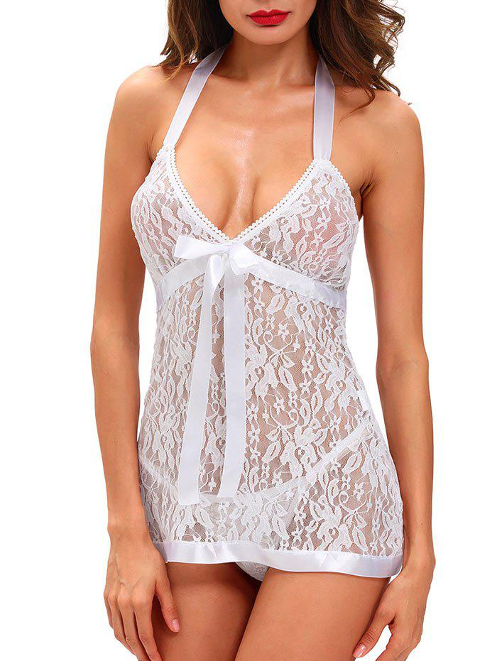 Halter Backless Lace See-Through Babydoll - WHITE S