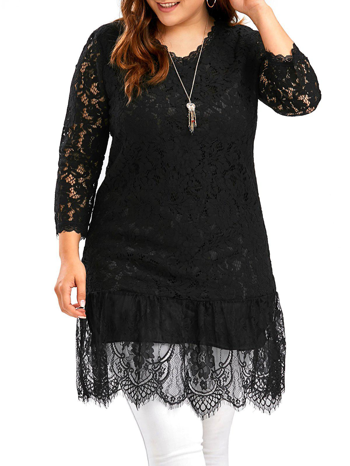 Openwork Plus Size Long Scalloped Lace Top long sleeve scalloped lace cropped top