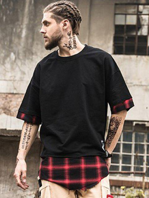 Plaid Spliced Hip Hop Tall T-Shirt - RED/BLACK M