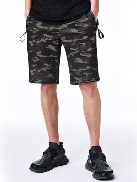 Zipper Pockets Drawstring Camo Shorts - ARMY GREEN CAMOUFLAGE 3XL