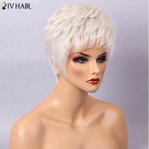 Siv Hair Straight Layered Short Side Bang Human Hair Wig - GREY WHITE
