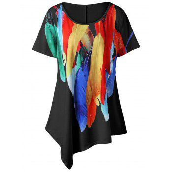 Feather Print Plus Size Asymmetric T-Shirt