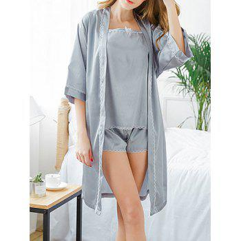 Longline Lace Trim Sleep Robe Set