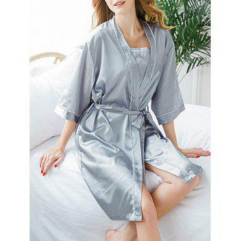 Longline Lace Trim Sleep Robe Set - SMOKY GRAY ONE SIZE
