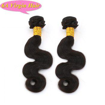 Trendy Body Wave Natural Black 6A Women's Chinese Virgin Hair Weave 2 Pcs/Lot - 16INCH*16INCH 16INCH*16INCH