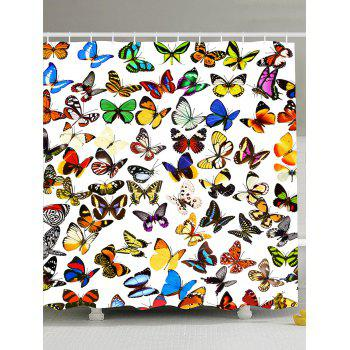 Colorful Butterfly Fabric Shower Curtain