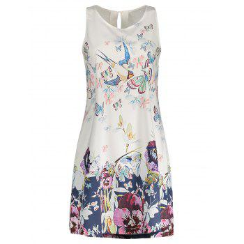 Sleeveless Shift Dress with Butterfly Floral Print