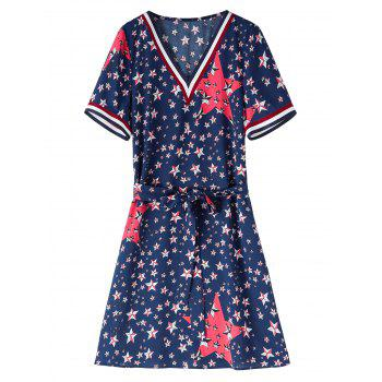Belted Plus Size Star Flag Print Dress