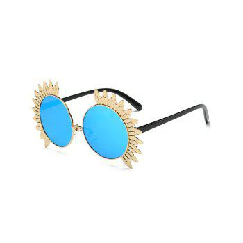 Alloy Sun Shape Frame Mirrored Round Sunglasses
