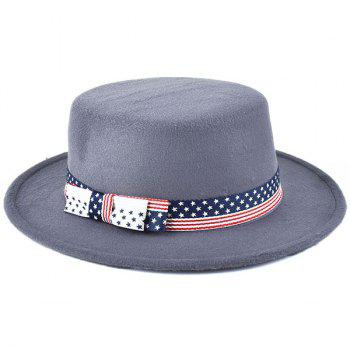 Artificial Suede US Flag Bowknot Flat Fedora Hat