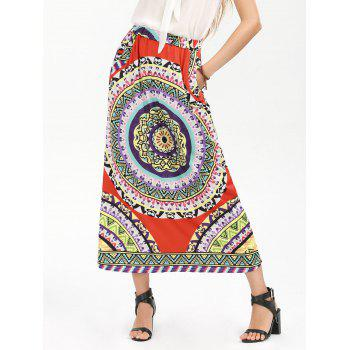 High Waisted Bohemian Print Pocket Long Skirt