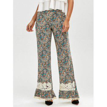 Buy Pompon Lace Insert Paisley Printed Palazzo Pants COLORMIX