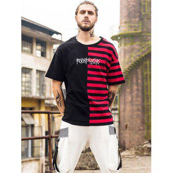 Striped Letter Embroidery Embellished T-Shirt