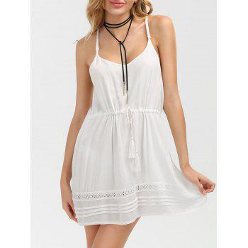 Slip Dress with Tassel Drawstring Waist