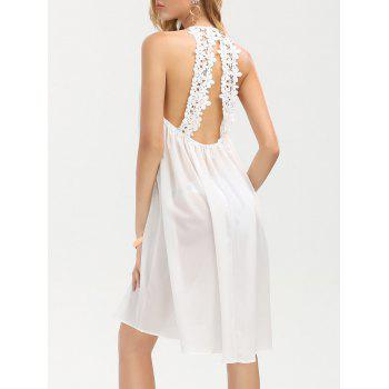 Lace Insert Low Back Sleeveless Chiffon Dress