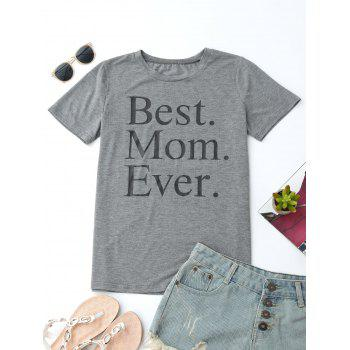 Round Collar Letter Print T Shirt