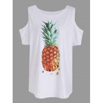 Pineapple Print Cold Shoulder T Shirt