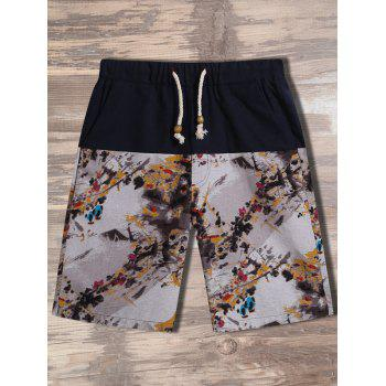 Drawstring Chinese Painting Print Shorts