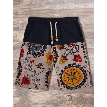 Drawstring Floral Printed Panel Shorts