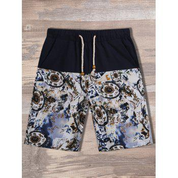 Drawstring Printed Pocket Shorts
