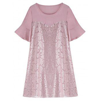 Lace Panel Plus Size Chiffon Dress