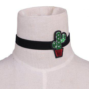 Cactus Plant Embroidery Velvet Choker Necklace