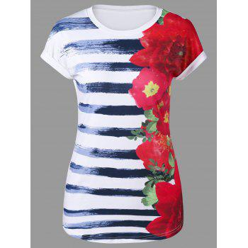 Cap Sleeve Floral and Striped T-Shirt