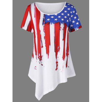 Plus Size American Flag Asymmetric T-Shirt