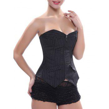Zip Lace Up Striped Corset Top