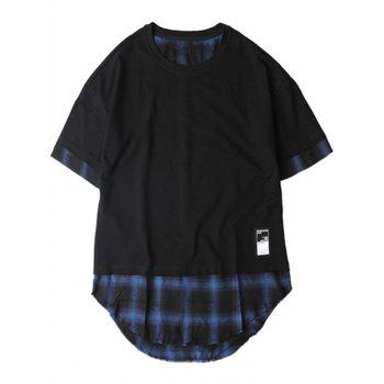 Plaid spliced hip hop tall t shirt blue black xl in t for Hip hop t shirts big and tall