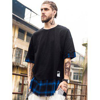 Plaid Spliced Hip Hop Tall T-Shirt