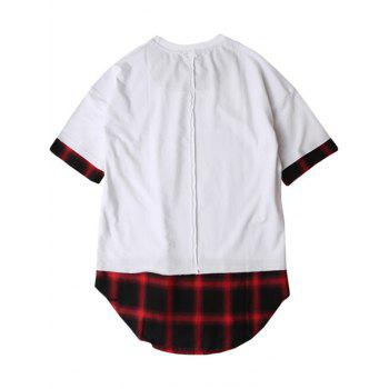 Plaid Spliced Hip Hop Tall T Shirt Red White M In T