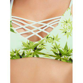 Cross-Back Bikini Set With Leaf Print - Vert clair M