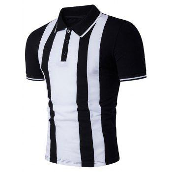 Vertical Stripe Color Block Panel Polo T-Shirt