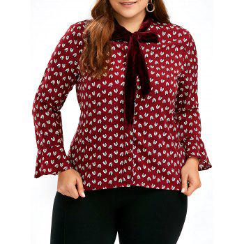 Chiffon Printed Plus Size Bell Sleeve Pussy Bow Shirt