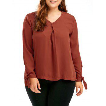 Tie Sleeve Plus Size Chiffon V Neck Top