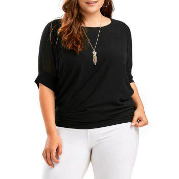 Dolman Sleeve Plus Size Chiffon Top