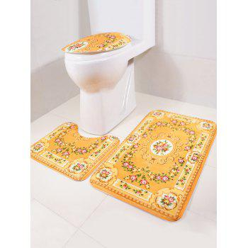 Europe 3Pcs Bath Floor Rug and Toilet Lid Mat Set