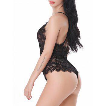 See Thru Lace Backless Bodysuit - BLACK XL