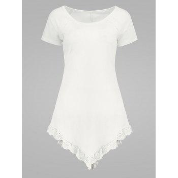 Scoop Neck Ribbed Laced Longline T Shirt