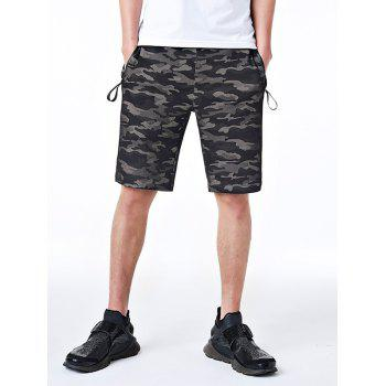 Zipper Pockets Drawstring Camo Shorts