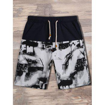 Printed Drawstring Waist Pocket Shorts
