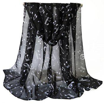 Chiffon Lightsome Musical Notes Printed Scarf