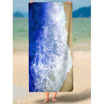 Sea Tides Printing Rectangle Beach Throw - BLUE 2XL