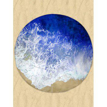 Sea Tides Print Milk Silk Fabric Round Beach Throw