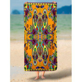Rectangle Beach Throw with Flower Print - BURNT ORANGE L