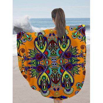 Milk Silk Fabric Flower Print Round Beach Throw
