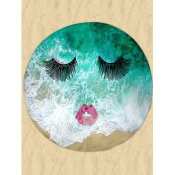 Eyelashes Red Lip Sea Milk Silk Fabric Round Beach Throw